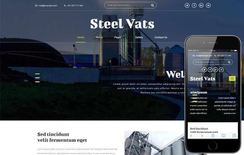 Steel Vats an Industrial Category Bootstrap Responsive Web Template Mobile website template Free
