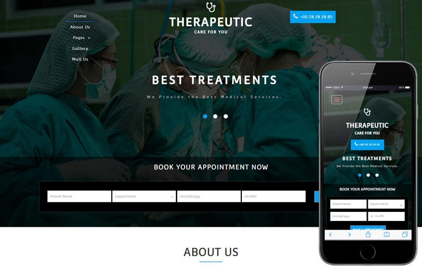 Therapeutic a Medical Category Flat Bootstrap Responsive Web Template Mobile website template Free