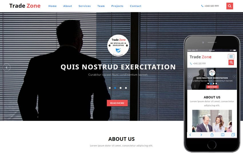 Trade Zone a Corporate Category Bootstrap Responsive Web Template Mobile website template Free
