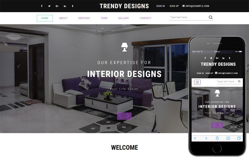 Trendy Designs An Interior Category Bootstrap Responsive Web Template