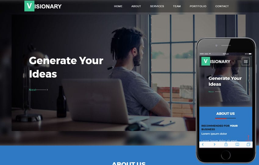 Visionary a Corporate Category Flat Bootstrap Responsive Web Template Mobile website template Free