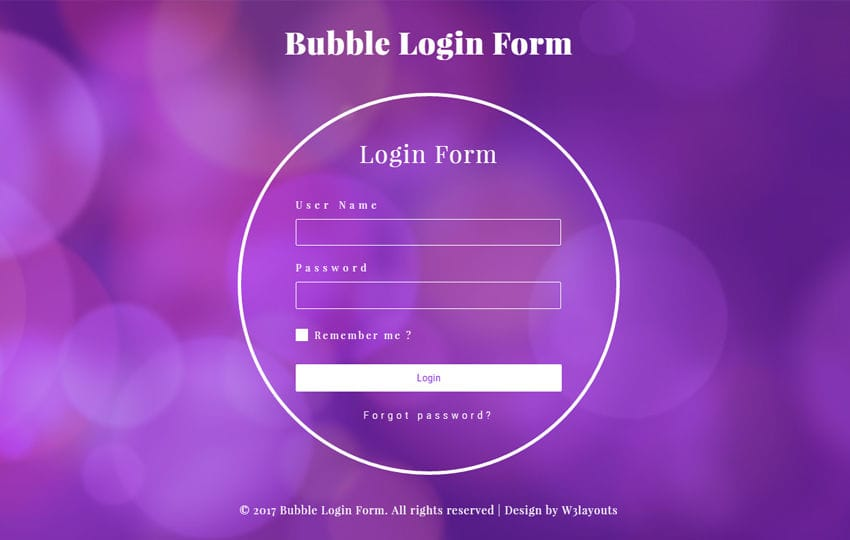 Bubble Login Form a Flat Responsive Widget Template Mobile website template Free