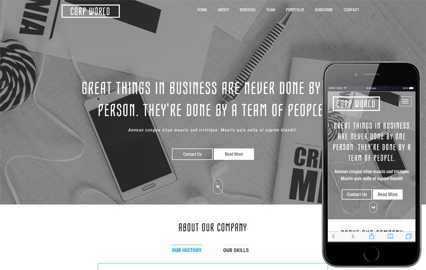 Corporate World a Corporate Bootstrap Responsive Web Template Mobile website template Free