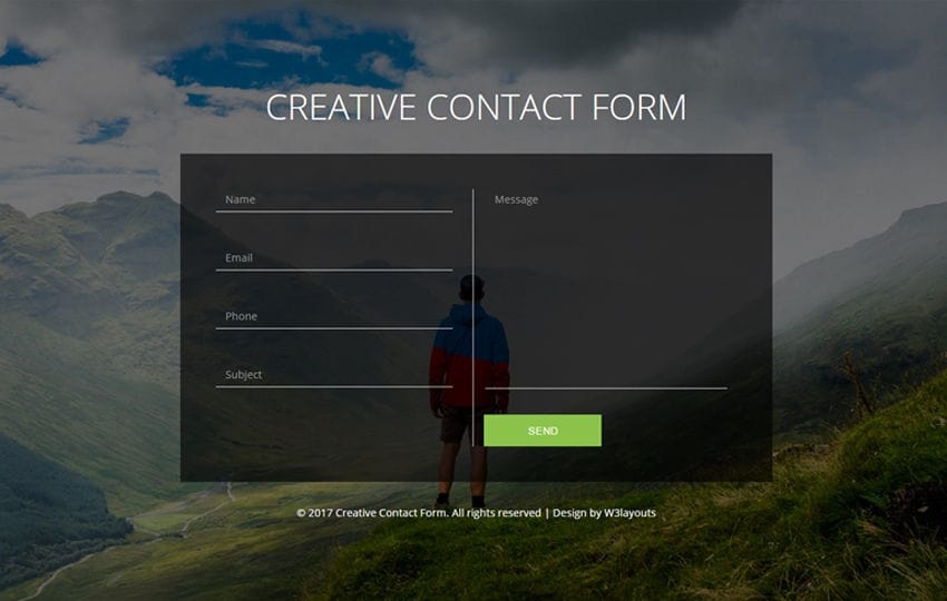 Creative Contact Form Flat Responsive Widget Template Mobile website template Free