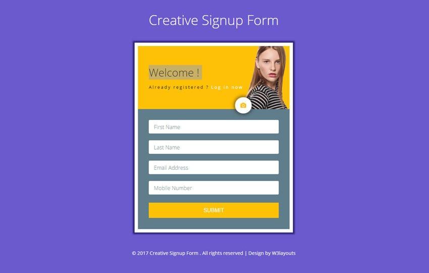 creative signup form a flat responsive widget template