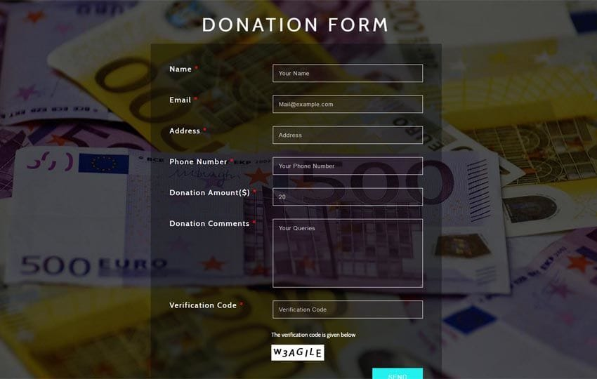 Donation Form a Flat Responsive Widget Template Mobile website template Free
