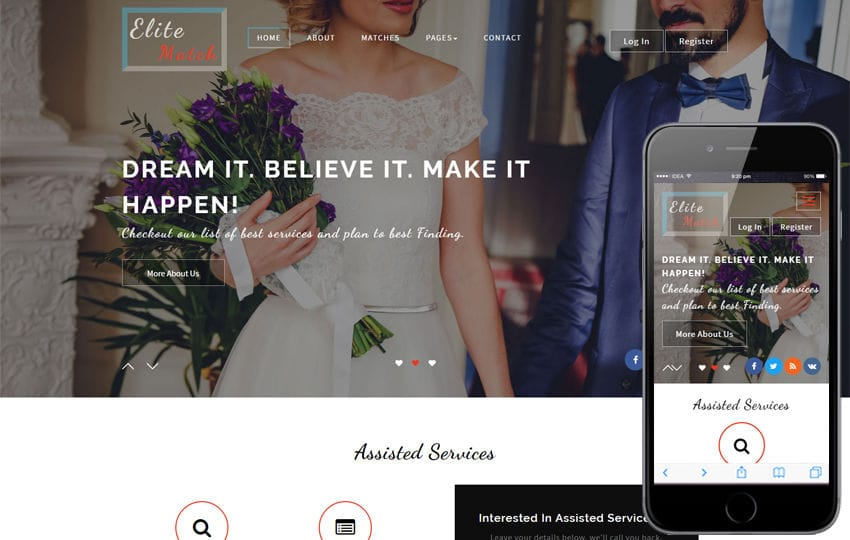 Elite Match a Matrimonial Category Bootstrap Responsive Web Template Mobile website template Free