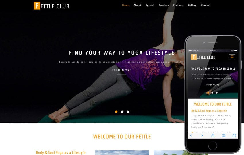 Fettle Club a Sports Category Flat Bootstrap Responsive Web Template Mobile website template Free