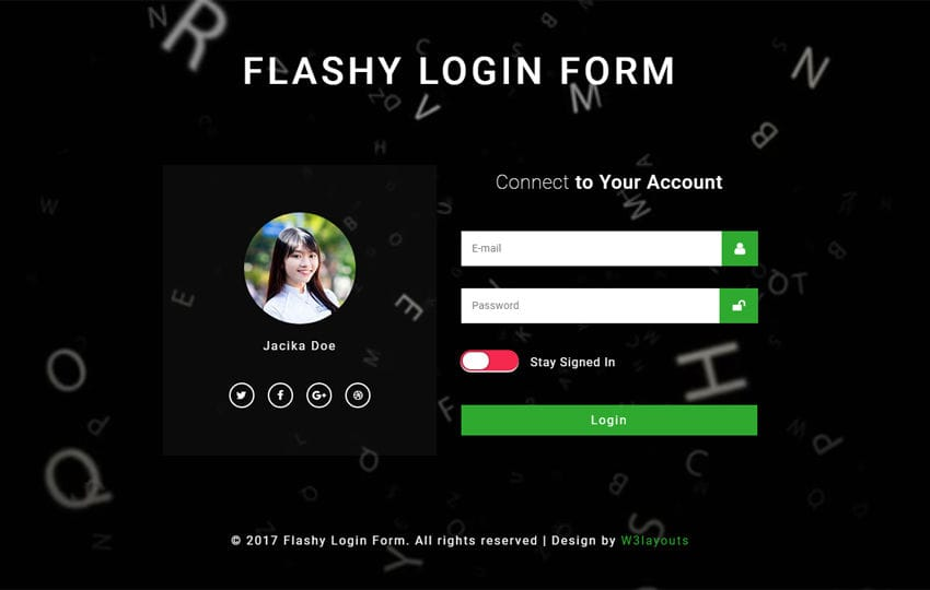 Flashy Login Form Responsive Widget Template Mobile website template Free