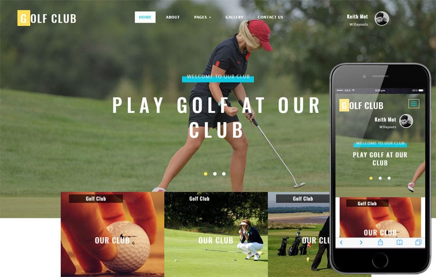 Golf Club a Sports Category Bootstrap Responsive Web Template Mobile website template Free