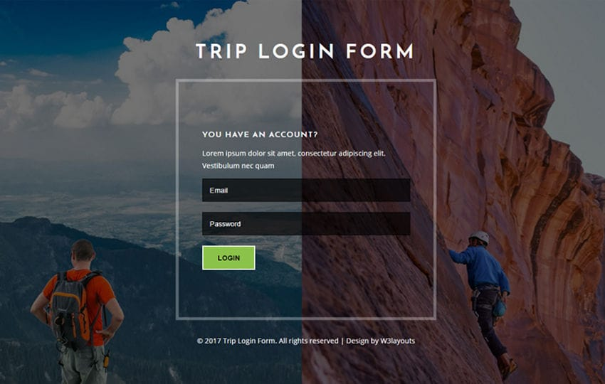 Trip Login Form Flat Responsive Widget Template Mobile website template Free