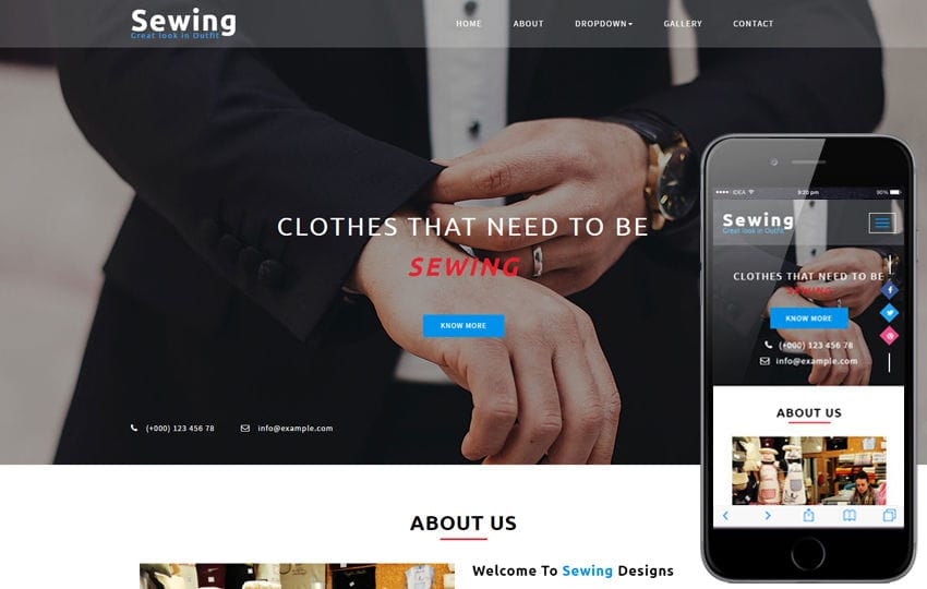 Sewing a Fashion Category Bootstrap Responsive Web Template Mobile website template Free