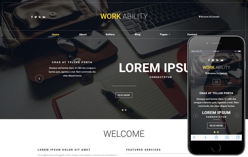 Work Ability a Corporate Category Bootstrap Responsive Web Template Mobile website template Free