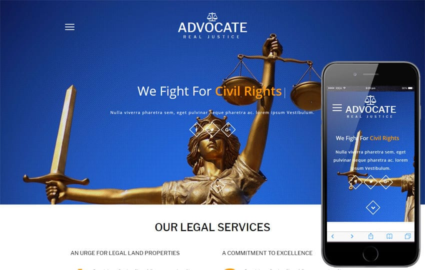 Advocate a Business Category Bootstrap Responsive Web Template Mobile website template Free