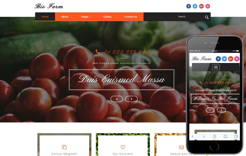 Bio Farm an Agriculture Category Bootstrap Responsive Web Template Mobile website template Free