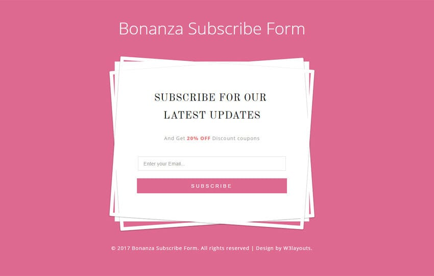 Bonanza Subscribe Form a Flat Responsive Widget Template Mobile website template Free