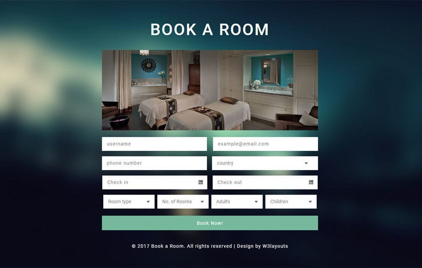 Book a Room Flat Responsive Widget Template