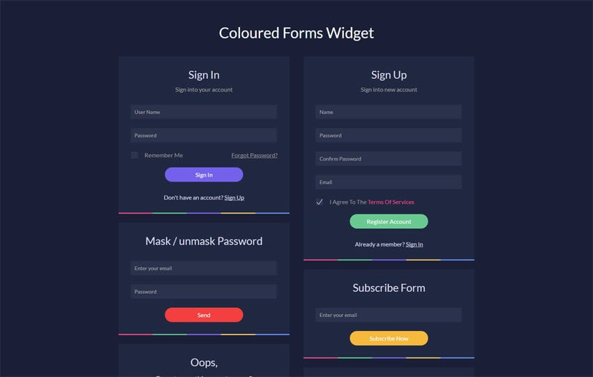 Coloured Forms Widget Flat Responsive Widget Template Mobile website template Free