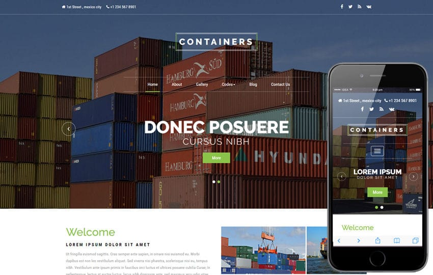 Containers an Industrial Category Bootstrap Responsive Web Template Mobile website template Free