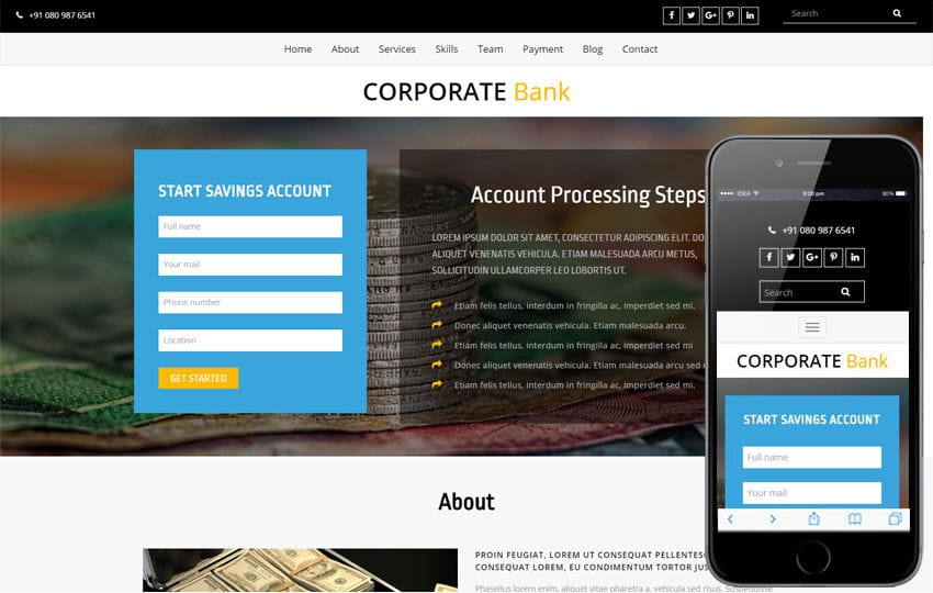 Corporate Bank a Banking Category Bootstrap Responsive Web Template Mobile website template Free