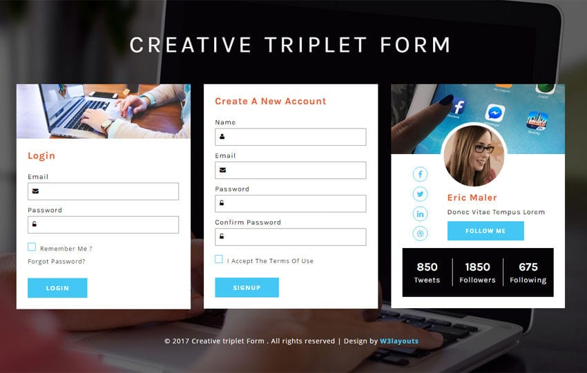 creative triplet form a responsive widget template. Black Bedroom Furniture Sets. Home Design Ideas