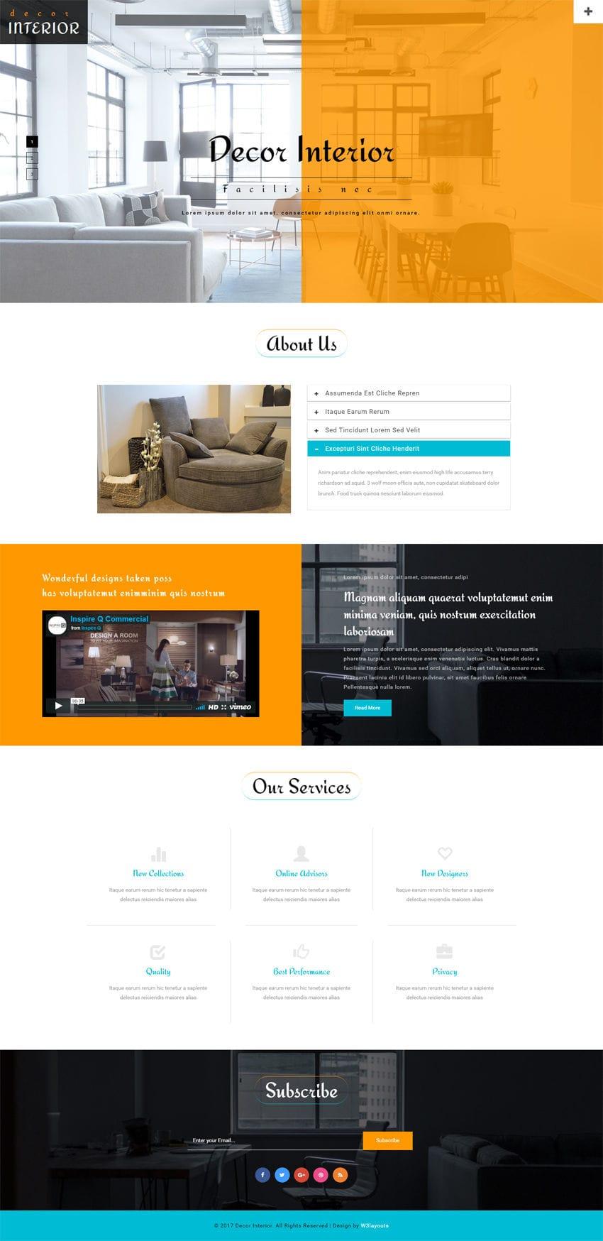 Decor Interior An Interior Furniture Bootstrap Responsive Web Template