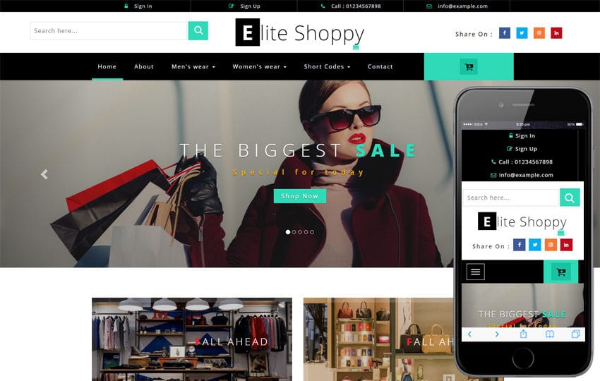 Elite Shoppy an Ecommerce Category Bootstrap Responsive Web Template Mobile website template Free