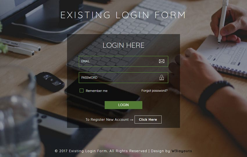 Existing Login Form a Flat Responsive Widget Template Mobile website template Free