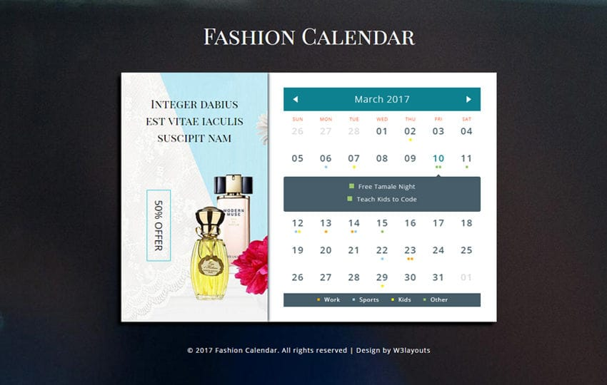 Fashion Calendar a Flat Responsive Widget Template Mobile website template Free