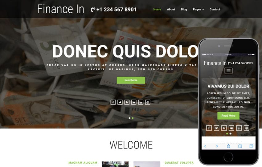 Finance In a Banking Category Bootstrap Responsive Web Template Mobile website template Free