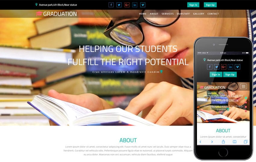 Graduation an Education Category Bootstrap Responsive Web Template Mobile website template Free