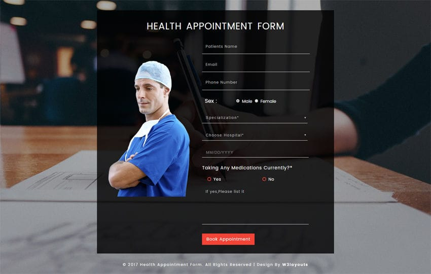 Health Appointment Form a Flat Responsive Widget Template Mobile website template Free