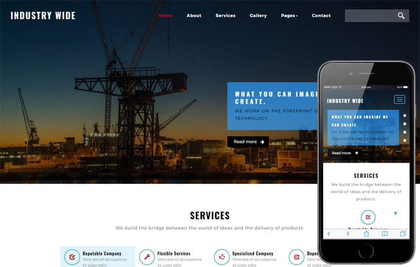 Industry Wide an Industrial Category Bootstrap Responsive Web Template Mobile website template Free