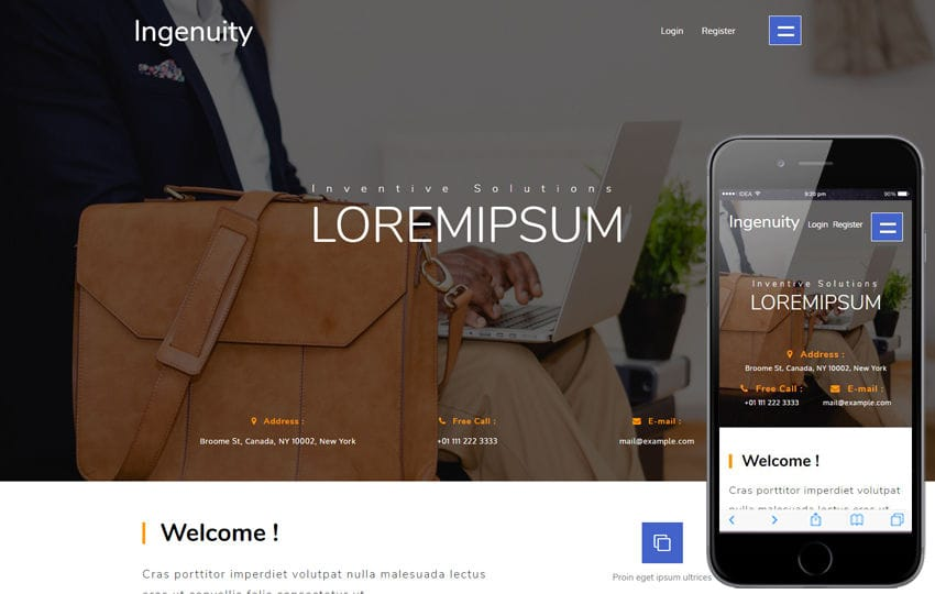 Ingenuity a Corporate Category Bootstrap Responsive Web Template Mobile website template Free