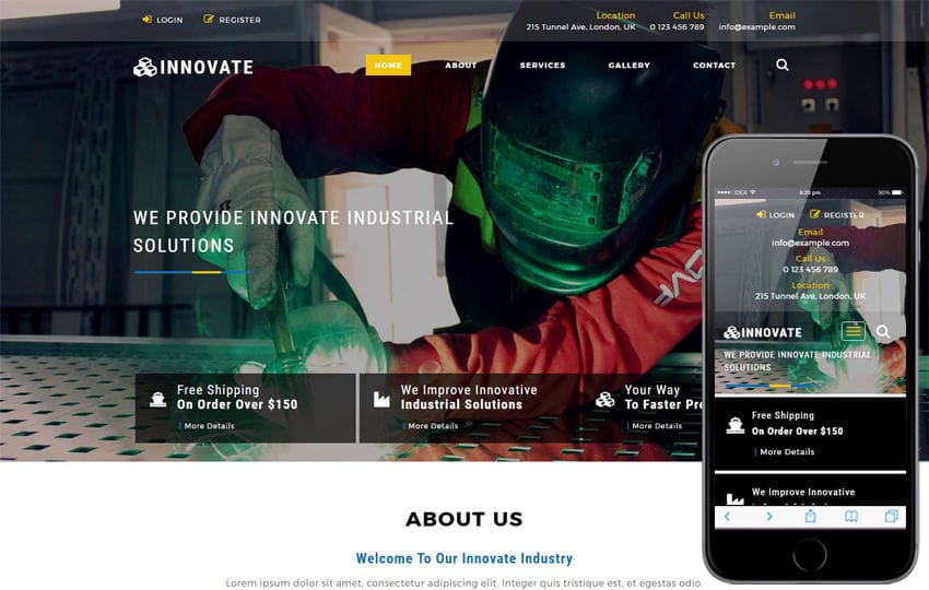 Innovate an Industrial Category Bootstrap Responsive Web Template Mobile website template Free