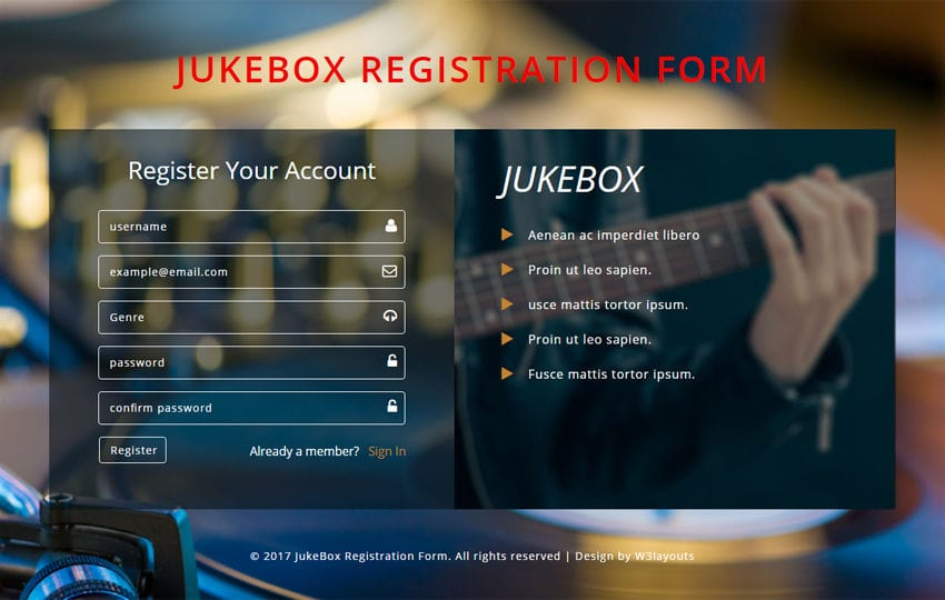 Jukebox Registration Form Flat Responsive Widget Template Mobile website template Free