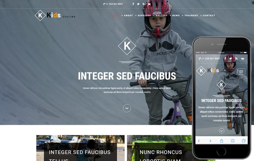 Kids Cycling a Sports Category Bootstrap Responsive Web Template Mobile website template Free