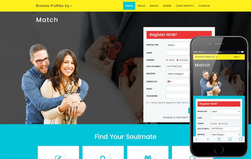 Match a Matrimonial Category Bootstrap Responsive Web Template Mobile website template Free