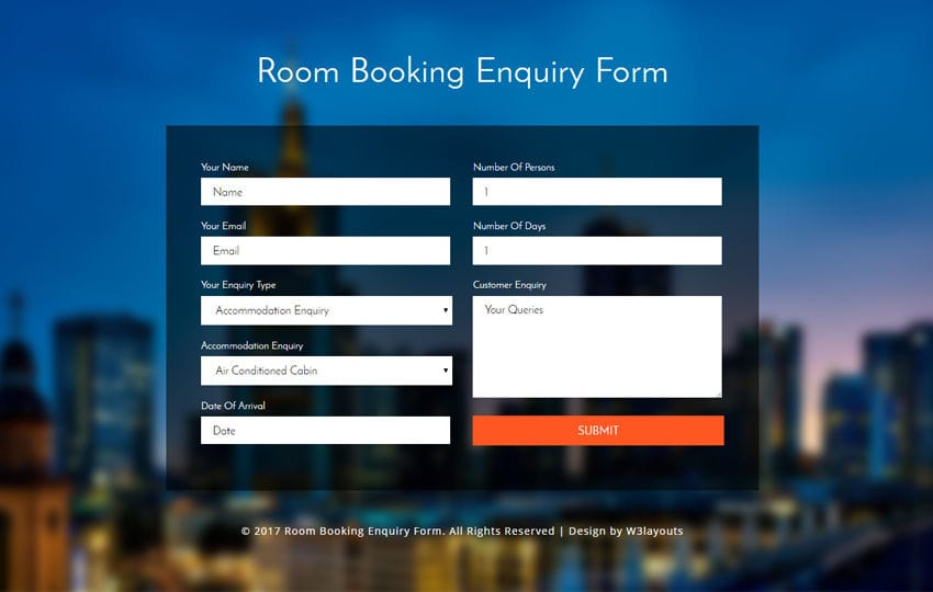 Room Booking Enquiry Form a Flat Responsive Widget Template Mobile website template Free