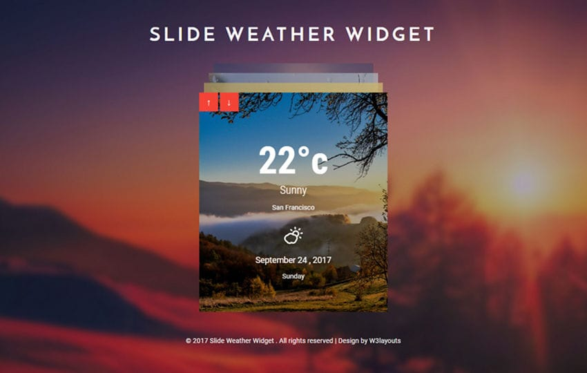 Slide Weather Widget Responsive Widget Template Mobile website template Free