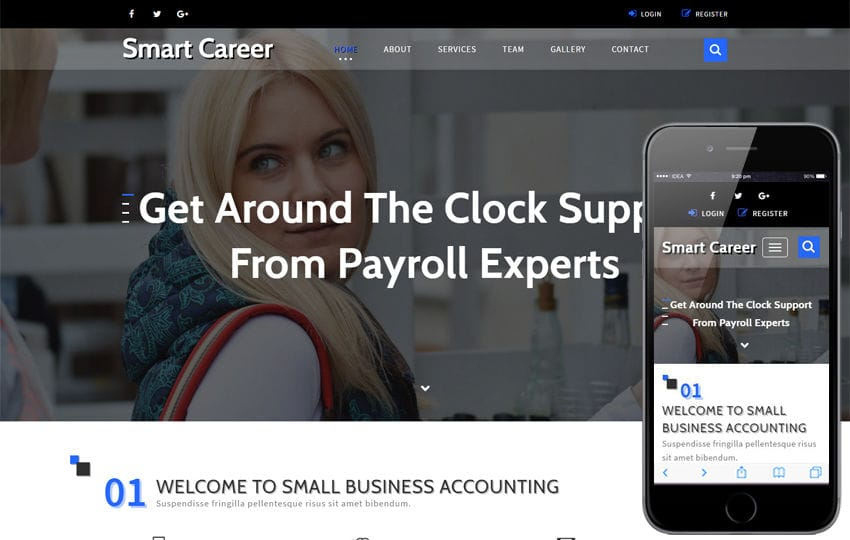 Smart career a banking category bootstrap responsive web template fbccfo Choice Image