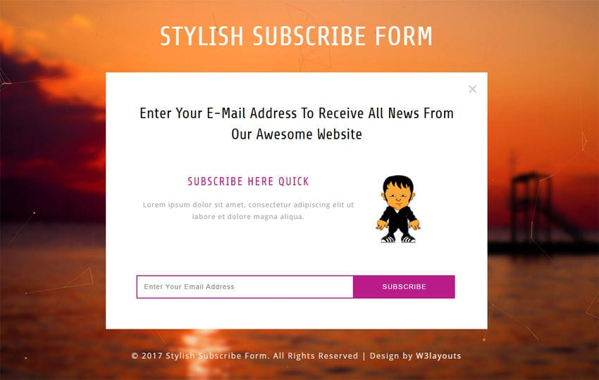 Stylish Subscribe Form Responsive Widget Template Mobile website template Free