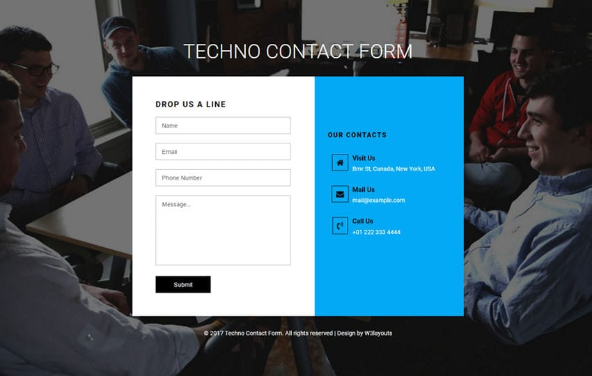 Techno Contact Form Flat Responsive Widget Template Mobile website template Free