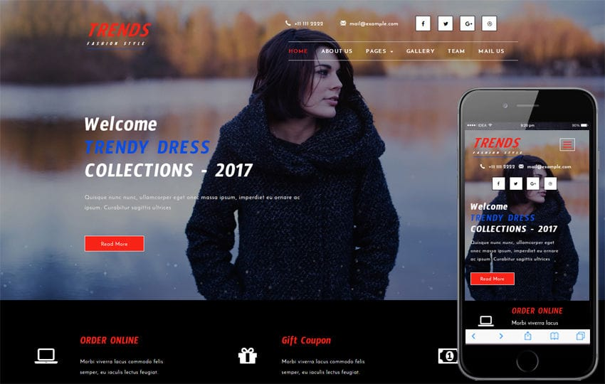 Trends a Fashion Category Bootstrap Responsive Web Template Mobile website template Free