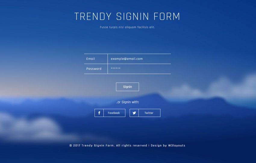 Trendy Signin Form Flat Responsive Widget Template Mobile website template Free