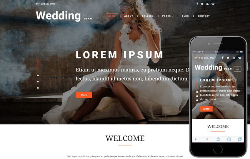 Wedding Plan a Wedding Category Bootstrap Responsive Web Template Mobile website template Free