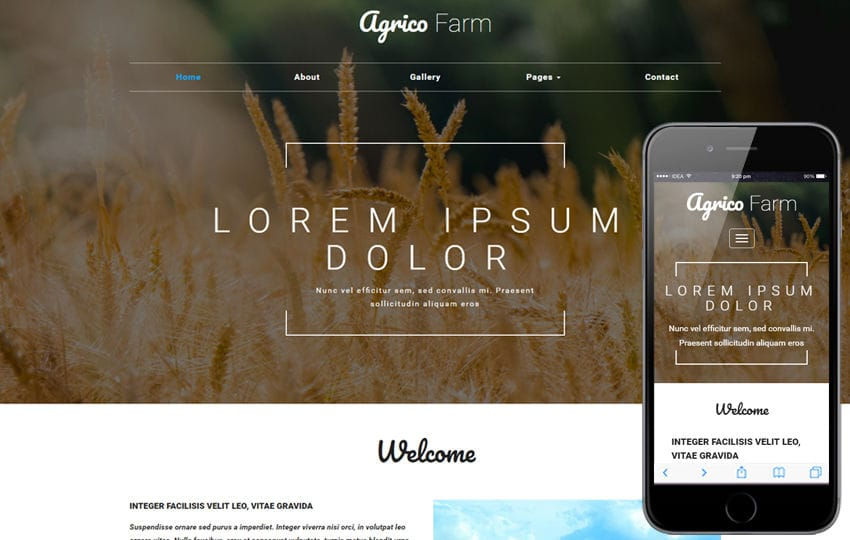 Agrico Farm an Agriculture Category Bootstrap Responsive Web Template Mobile website template Free