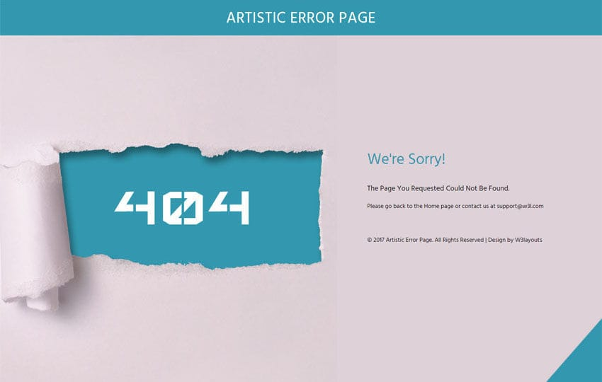 Artistic Error Page Flat Responsive Widget Template Mobile website template Free