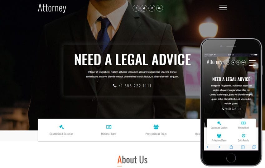 Attorney a Business Category Bootstrap Responsive Web Template Mobile website template Free