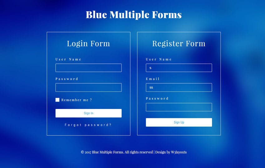 Blue Multiple Forms a Flat Responsive Widget Template Mobile website template Free